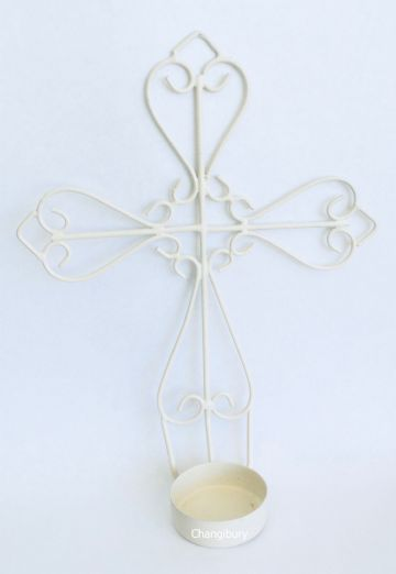 2x CROSS  METAL HANGING Candle Votive Holder
